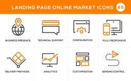 Linea piana icone di concetto di progetto per acquisto online, l'insegna del sito Web e la pagina di atterraggio Fotografia Stock