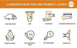 Linea piana icone di concetto di progetto per acquisto online, l'insegna del sito Web e la pagina di atterraggio Fotografie Stock
