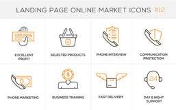 Linea piana icone di concetto di progetto per acquisto online, l'insegna del sito Web e la pagina di atterraggio Immagine Stock