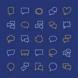 Linea piana icone di discorso del fumetto Chiacchierata, commento, illustrazioni di idea Segni sottili per il concetto di comunic Fotografia Stock Libera da Diritti