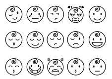 Linea piana icone di emozioni del bambino Immagini Stock Libere da Diritti