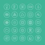 Linea piana icone di energia e di potere Immagine Stock Libera da Diritti