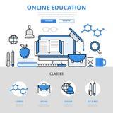 Linea piana icone di istruzione di corso di concetto online della biblioteca di vettore di arte Fotografia Stock