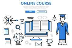Linea piana icone di istruzione di studio di concetto online di corso di vettore di arte Fotografia Stock