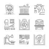 Linea piana icone di RMI Immagine Stock