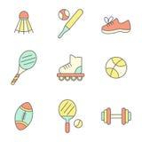 Linea piana icone di sport Fotografia Stock