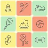 Linea piana icone di sport Fotografia Stock Libera da Diritti