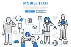 Linea piana icone di tecnologia di concetto mobile di comunicazione di vettore di arte
