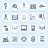 Linea piana icone di vettore di ingegneria di indagine geodetica Attrezzatura di geodesia, tacheometer, teodolite, treppiede geol royalty illustrazione gratis