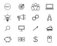 Linea piana icone ed insieme di logo di crowdfunding royalty illustrazione gratis