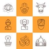 Linea piana icone India Fotografia Stock Libera da Diritti