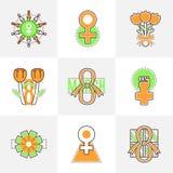 Linea piana icone l'8 marzo Immagine Stock Libera da Diritti