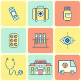 Linea piana icone mediche Immagine Stock Libera da Diritti
