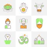 Linea piana icone messe dell'India Immagine Stock Libera da Diritti