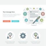Linea piana illustrazione di vettore dell'intestazione del sito Web di concetto di affari Fotografie Stock