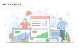 Linea piana illustrazione moderna di concetto - analisi dei dati illustrazione vettoriale