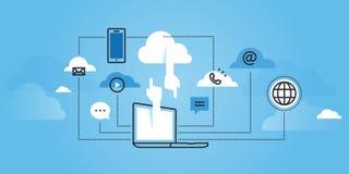 Linea piana insegna del sito Web di progettazione dei servizi di calcolo della nuvola Fotografie Stock Libere da Diritti