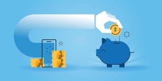 Linea piana insegna del sito Web di progettazione dei soldi di risparmio mentre comperando online Immagini Stock