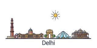 Linea piana insegna di Delhi illustrazione di stock