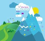 Linea piana insegna di progettazione, concetto dell'illustrazione di vettore della nuvola per Immagini Stock Libere da Diritti