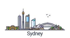 Linea piana insegna di Sydney illustrazione di stock
