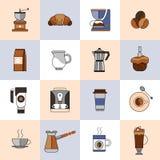 Linea piana insieme delle icone del caffè Fotografia Stock Libera da Diritti