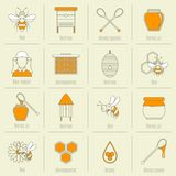 Linea piana insieme delle icone del miele dell'ape Fotografia Stock Libera da Diritti