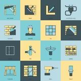 Linea piana insieme delle icone domestiche di riparazione Fotografia Stock Libera da Diritti