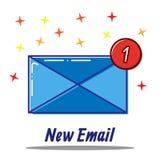 Linea piana insieme di concetto dell'icona di nuovo email, messaggio ricevuto, illustrazione vettoriale