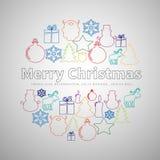 Linea piana insieme semplice di Buon Natale nella forma del cerchio, natale Fotografie Stock Libere da Diritti