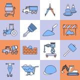 Linea piana messa icone della costruzione Fotografie Stock Libere da Diritti
