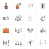 Linea piana messa icone di elezioni illustrazione di stock