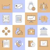 Linea piana messa icone di finanza Fotografia Stock Libera da Diritti