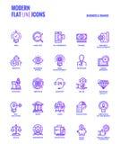 Linea piana progettazione-affare e finanza delle icone di pendenza Fotografia Stock Libera da Diritti