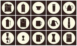 Linea piana raccolta di vettore dell'attrezzatura del caffè dell'icona Fotografia Stock