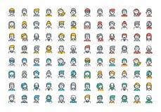 Linea piana raccolta variopinta delle icone degli avatar della gente Immagini Stock Libere da Diritti