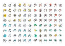 Linea piana raccolta variopinta delle icone del processo del cervello umano illustrazione di stock