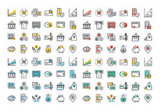 Linea piana raccolta variopinta delle icone di attività bancarie e degli e-banking Fotografie Stock Libere da Diritti