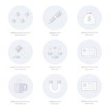 Linea piana stile di progettazione delle icone dell'ufficio delle icone Fotografia Stock Libera da Diritti