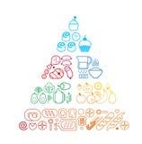 Linea piramide dell'alimento Fotografia Stock Libera da Diritti