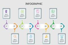 Linea profonda modello minimo di progettazione di Infographic illustrazione di stock