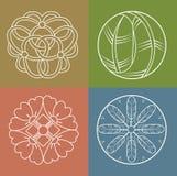 Linea progettazione dei monogrammi Logo del monogramma Reticoli giapponesi Fotografia Stock