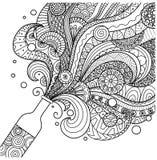 Linea progettazione della bottiglia di Champagne di arte per il libro da colorare per l'adulto, il manifesto, la carta e l'elemen illustrazione vettoriale