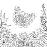 Linea progettazione di arte dei fiori e delle foglie tropicali con lo spazio della copia per l'elemento di progettazione e la pag Immagine Stock Libera da Diritti