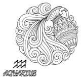 Linea progettazione di arte del segno dello zodiaco di acquario per l'elemento di progettazione e la pagina del libro da colorare Fotografia Stock