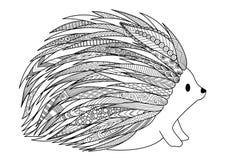 Linea progettazione di arte dell'istrice per progettazione della maglietta, pagina adulta del libro da colorare Immagini Stock