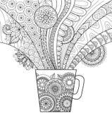 Linea progettazione di arte di una tazza della bevanda calda per il libro da colorare per l'adulto ed altre decorazioni Fotografia Stock Libera da Diritti