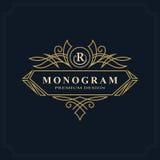 Linea progettazione di lusso del monogramma di arte, modello grazioso Bello logo elegante calligrafico Segno R dell'emblema della illustrazione di stock