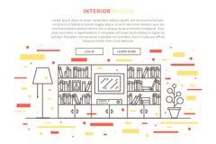 Linea progettazione grafica del salone illustrazione di stock