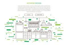 Linea progettazione grafica della mobilia della cucina illustrazione di stock